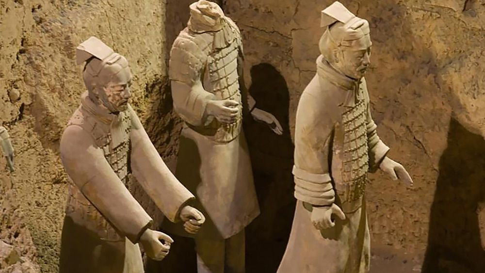 Close up of terra cotta warriors in Xi'an