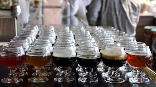 Variety of beers on a table at the BOS Original Brew Tour in Boston