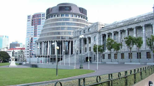 beehive and parliament in new zealand