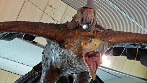 Model of a wizard on back of a giant hawk