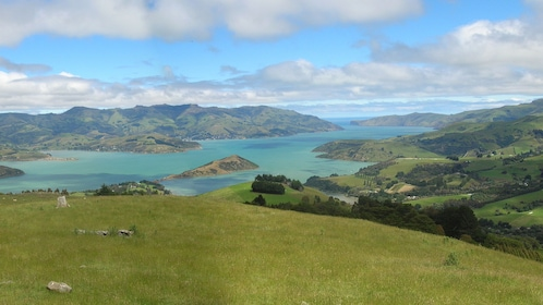Panoramic shot of Banks Peninsula on the east coast of the South Island of New Zealand