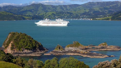 Cruise ship sails through Banks Peninsula on the east coast of the South Island of New Zealand.