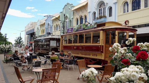 Tram parked outside cafe on New Regent Street in central Christchurch