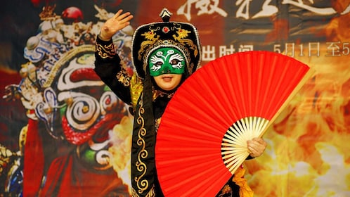 Vibrant view of a performer at the Sichuan Opera in Chengdu