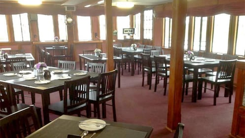 View of the dining area aboard the river cruise of Murray River in Adelaide