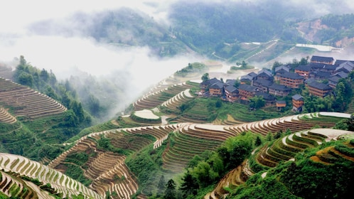 Foggy aerial view of Guilin