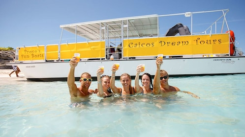 Group on private charter tour in the Turks and Caicos