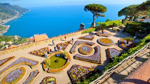 Garden near Amalfi Coast ocean view