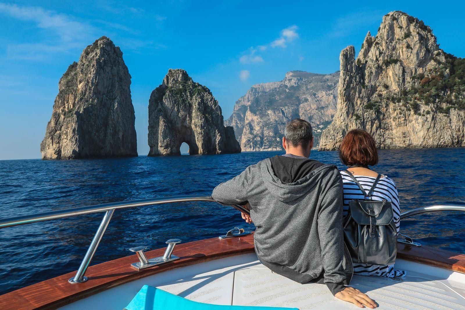 Visite du littoral de Sorrente et de Capri en bateau depuis Sorrente ou Nap...