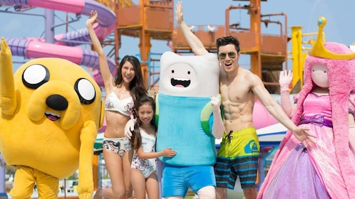 people posing with adventure time characters in pattaya
