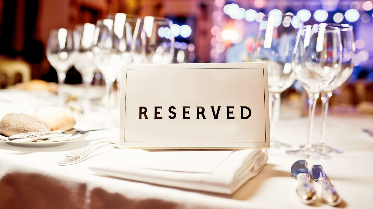 Reserved sign at a New Year's Eve dinner in Florence