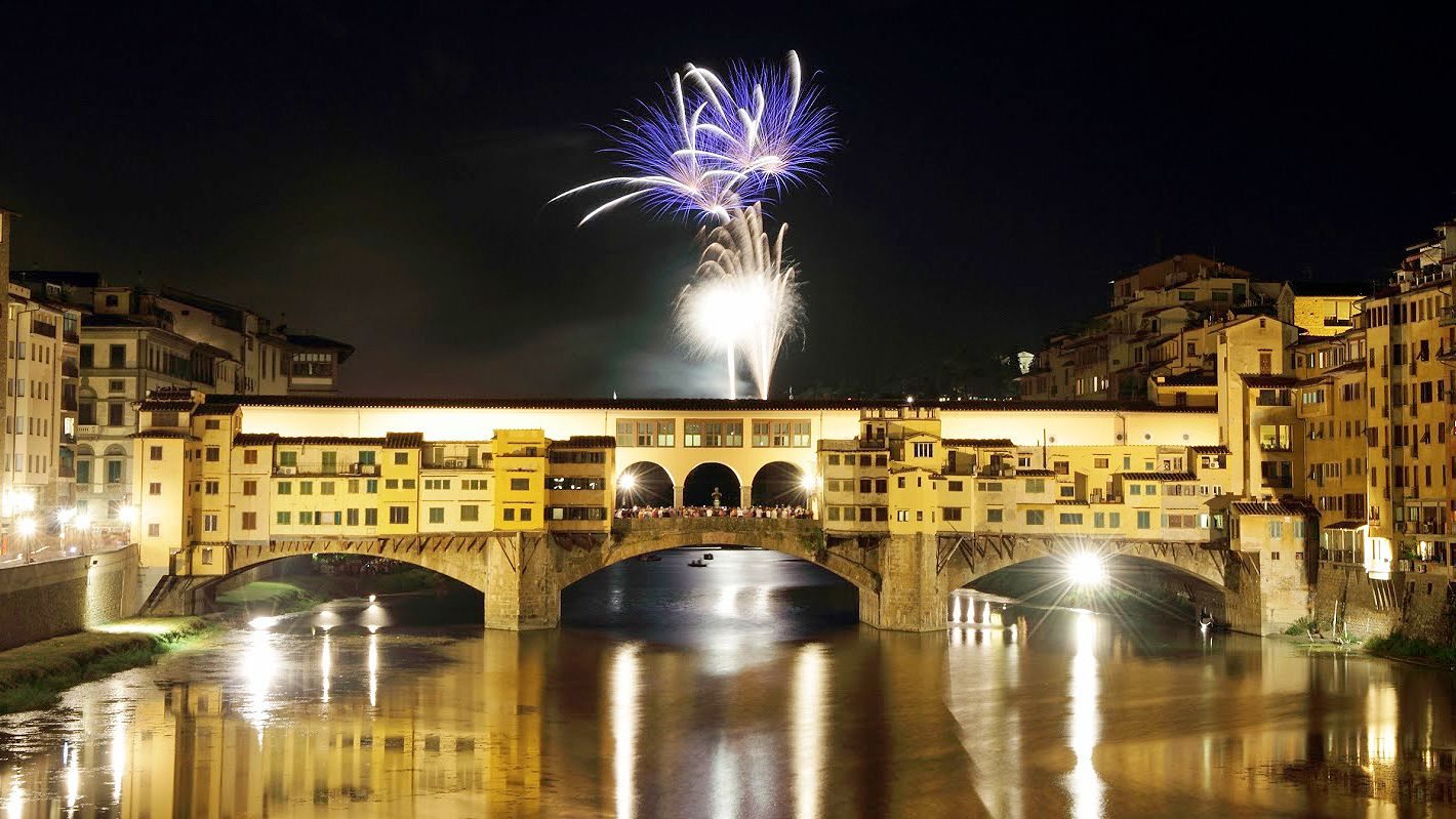Fireworks on New Year's Eve in Florence