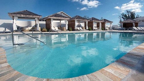 Pool and cabanas on Balmoral Island