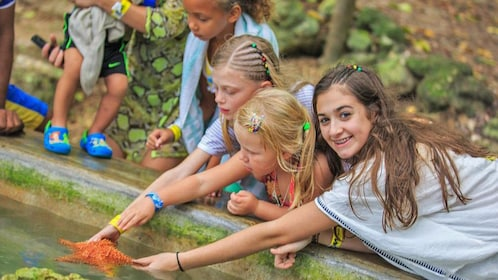 girls playing with starfish in jamaica
