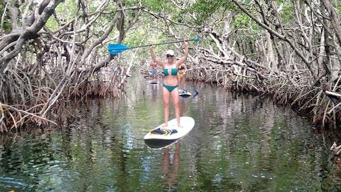 A woman in a bikini holds paddle up while paddle boarding