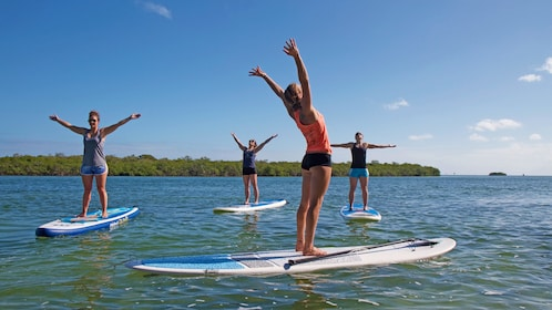 Paddle boarders extend arms while on boards