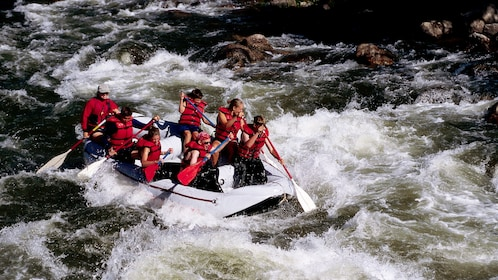 White water rafting group on the rapids