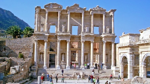 Visitors outside the library of Celsus