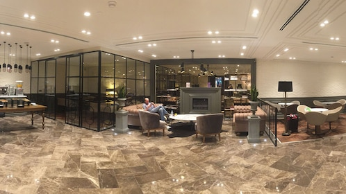 Wide shot of lounge area at Ataturk Airport International Lounge in Istanbul