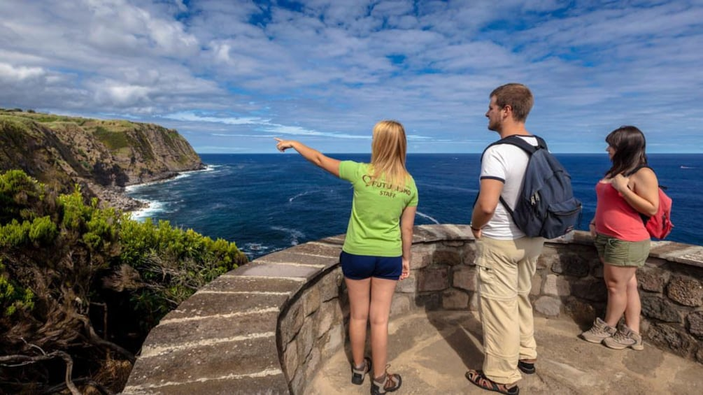 Group of people observing Azores from elevated point.