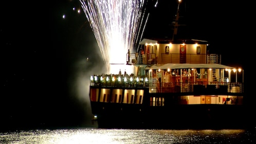 Fireworks explode off the deck of WaveDancer