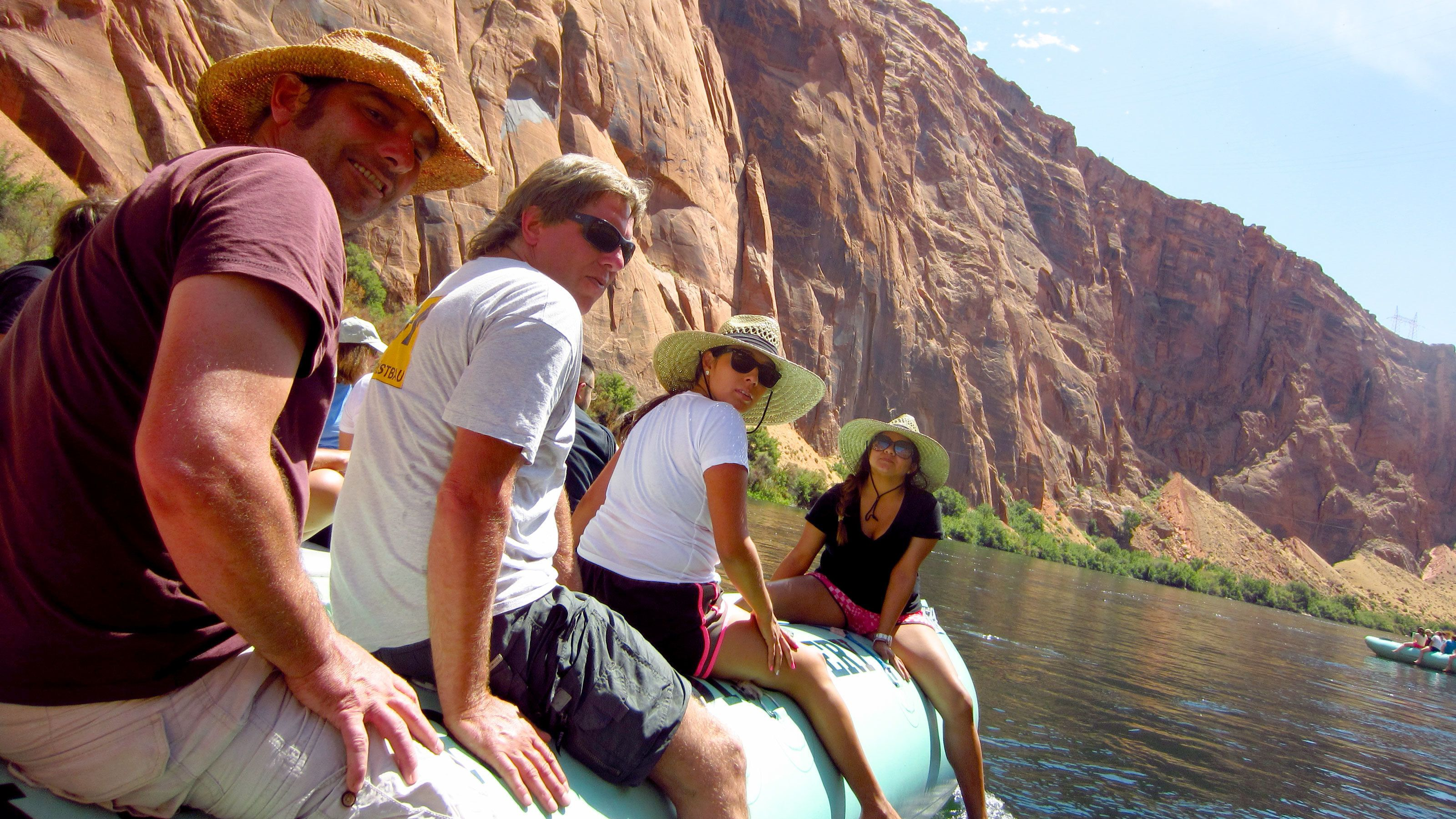 Close view of guests on the Colorado River Scenic Float Trip