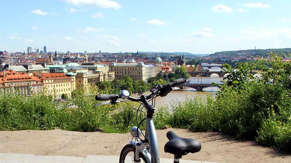 Bike parked in an overlook next to Prague