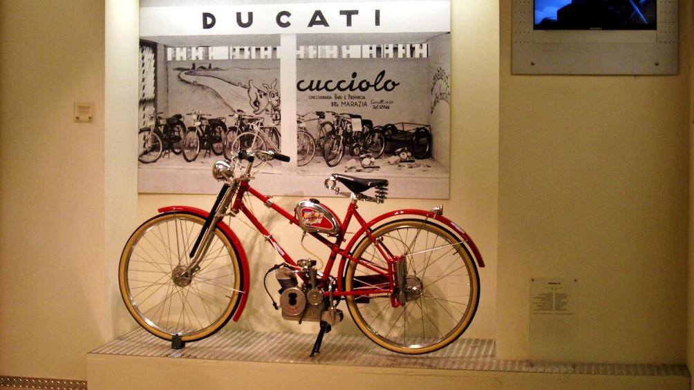 Show item 3 of 5. An original Ducati motorcycle on display