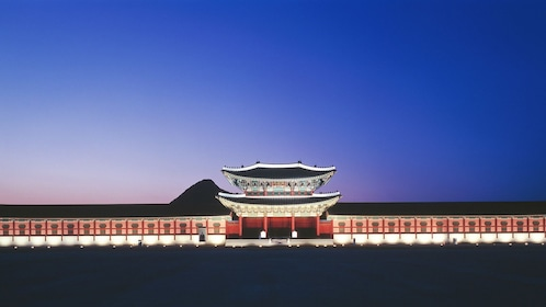 Night view of Gyeongbokgung Palace in Seoul