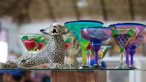 painted martini and margarita glasses in mexico