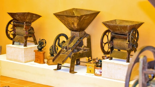 An exhibit of old coffee equipment