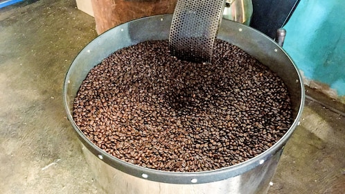 A barrel of Coffee beans
