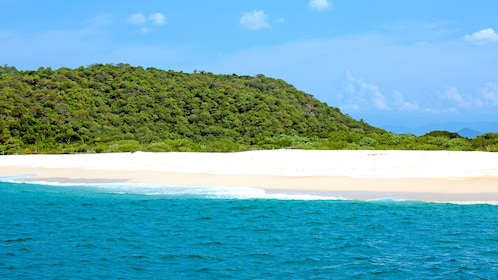 Blue water, white sand, and green jungle