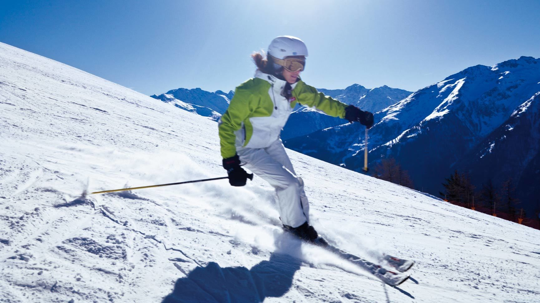 Skier going downhill in Munich