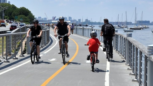 Bicyclists at Hudson River Park in New York