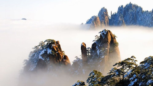 Foggy aerial view of Huangshan, China