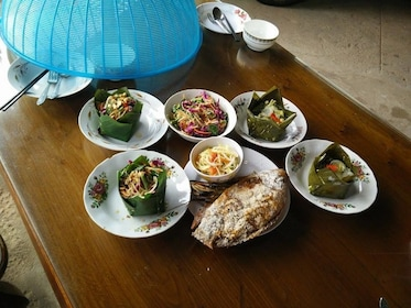 Table full of food on the Cambodian Cooking tour at a Local's House Siem Reap