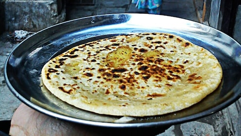 close up of allo paratha, a nepalese flat bread