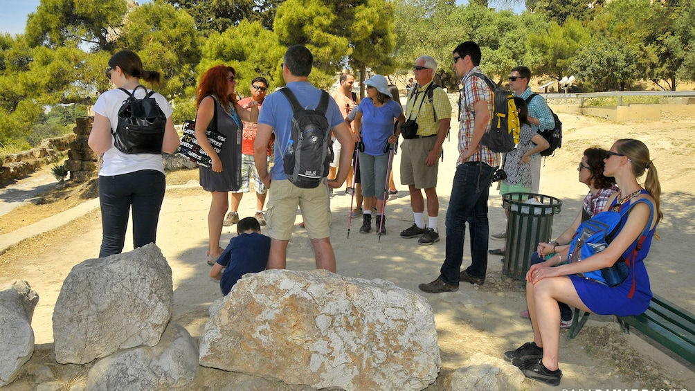 Group taking a break while on a tour of Athens, Greece