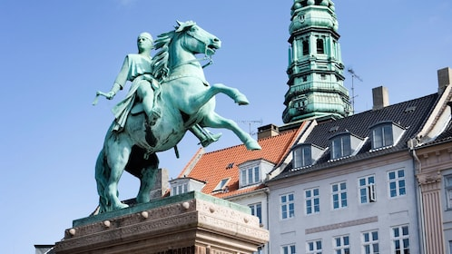 Statue of knight on horse in Copenhagen