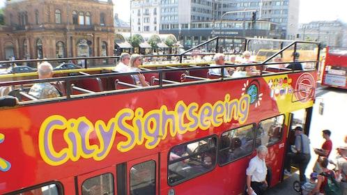 Boarding the double decked bus in Copenhagen