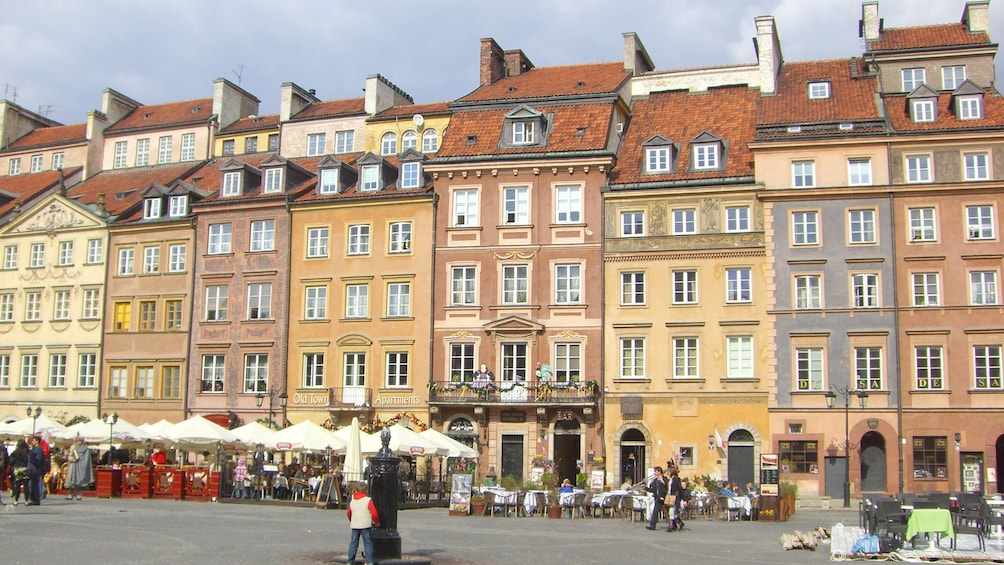 Colorful buildings in Old Town district in Warsaw
