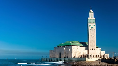 Hassan II Mosque shown from a distance.
