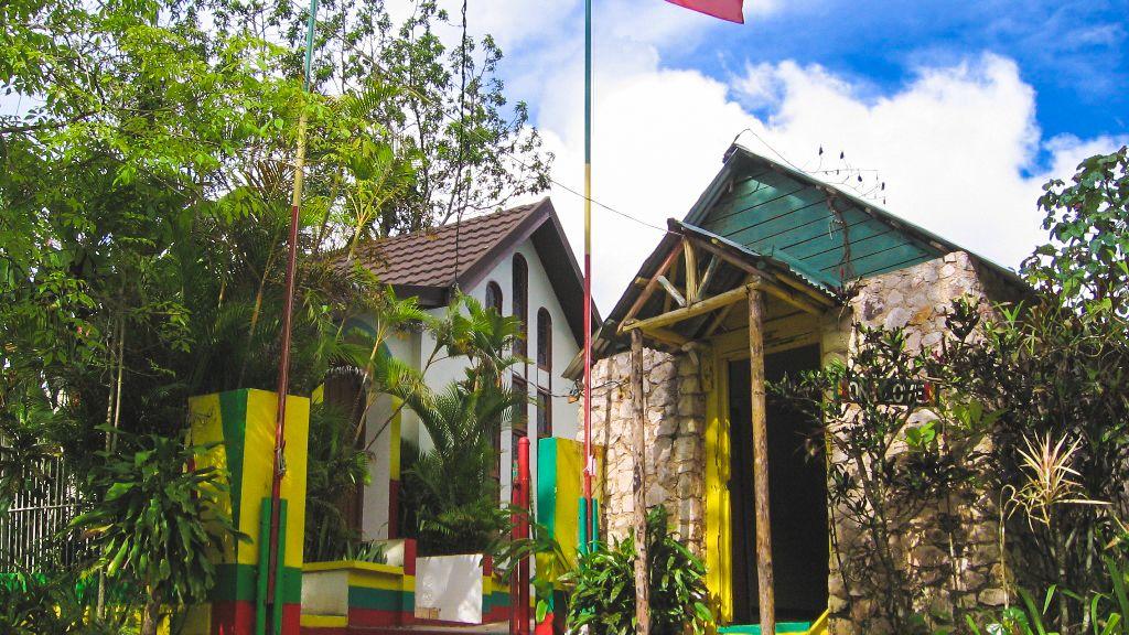 Local buildings in Nine Mile, Jamaica.