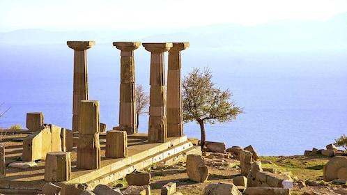 Greek ruins overlooking the Aegean Sea