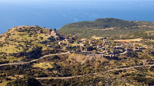 Panoramic image of Greek town by the Aegean Sea