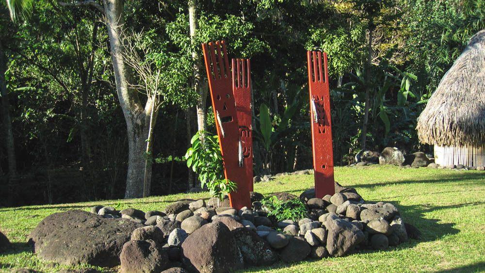 View of local art sculptures.