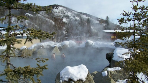 Pair of bathers in Chena Hot Springs in Fairbanks