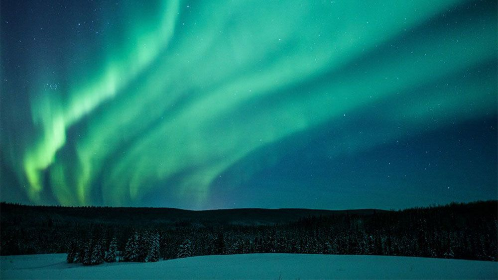 Layers of Northern Lights in sky over Fairbanks