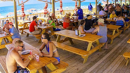 Several people shown lounging in shaded picnic area by beachfront.